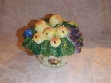 Unique Collectible Round Glass or Pottery Candy Bowl or Dish w/Lid, Fruit on Lid