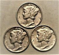 1945 PDS  Set of three Mercury Dimes circulated 90% Silver XF + Extra Fine Plus