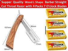 WOODEN BARBER HAIR SALON STRAIGHT CUT THROAT SHAVING Barber RAZOR+40 BLADES