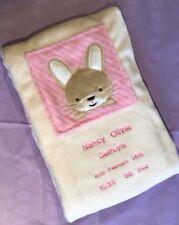 Personalised Baby Blanket Bunny Rabbit Personalised Baby Gift Christening Gift