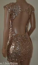VICKY MARTIN sequin copper gold pink backless cut out back mini dress BNWT 8 10