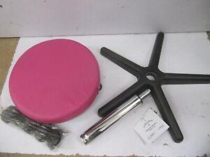 Linxor ® Runder Hocker mit Rollen, höhenverstellbar von 45 bis 62 cm rosa,V12242