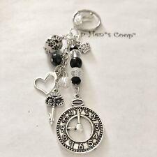 The Owl King & Clock Purse Charm Key Chain handmade USA 1437