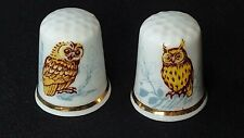 TWO OWL TAWNY AND LONG-EARED OWLS ILLUSTRATED BONE CHINA SOUVENIR THIMBLES