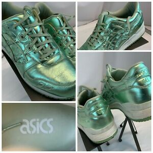 Asics Gel Lyte III Sz 11 Women Metallic Green Running Shoes Mint YGI L0S-29