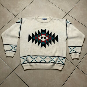 NWOT Vintage 80s MAC by Mighty Mac Aztec Wool Sweatshirt Sweater Large VTG Rare