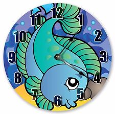"10.5"" CUTE GREEN FISH NURSERY KIDS CLOCK - Large 10.5"" Wall Clock - 3324"