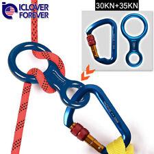Locking Rock Climbing Carabiner D Shape Hook Twist Screwgate+Figure 8 Descender