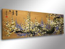 Quadro Moderno 3 pz. ORIENTAL FLOWERS 2 - cm 150x50 arredo stampa tela fiori
