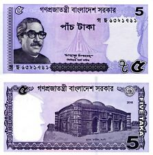 BANGLADESH 5 Taka Banknote World Paper Money UNC Currency Pick p-New 2017 Rahman
