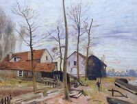 The Mills Sunrise Alfred Sisley Fine Art Print on CANVAS Painting Repro Giclee S
