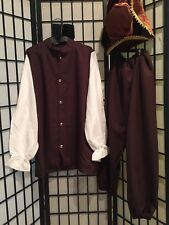 """MENS COLONIAL PEASANT ADULT COSTUME BUCCANEER- 4 PIECE SET-NIP TO 40"""" CHEST"""