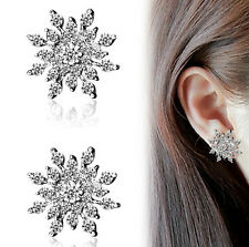 Women Fashion 925 Sterling Silver Snowflake Crystal Rhinestone Earrings Jewelry
