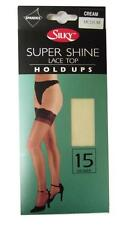 ** LADIES SEXY CREAM SUPER SHINE LACE TOP HOLD UPS MEDIUM 15 DENIER NEW