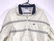 Vintage Women's Reebok Lined Windbreaker Jacket Off White Spell Out Large   *B