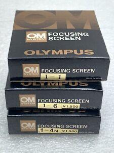 Olympus OM Camera Focusing Screens in Box 1-1 1-4N 1-6 All Mint Condition