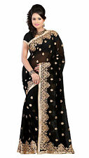 BRIDAL BLACK GEORGETTE EMBROIDERY SEQUINS SAREE  PARTY WEAR BOLLYWOOD SARI