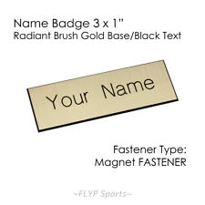 """Name Badge Tag Magnetic Gold/Black Personalised Engraved Customised 3x1"""" Empl..."""