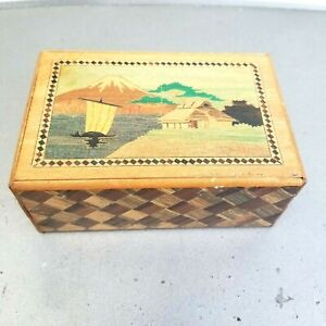 READ Vintage Wood Puzzle Box Hidden Compartment Inlay Marquetry Brainteaser