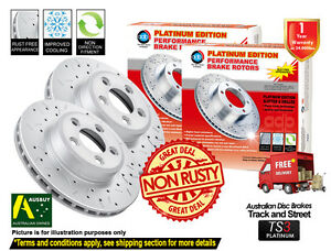 For MERCEDES BENZ R350 CDI W251 330mm 10-ON SLOTTED DRILLED FRONT Disc Rotor (2)