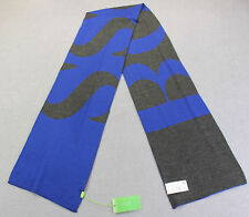HUGO BOSS GREEN LOGO REVERSIBLE Blue Gray VIRGIN WOOL WINTER SCARF NWT 78 x 10.5