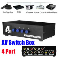 4 Port RCA Composite Video Audio AV 4-Way Switch Selector Switcher Splitter Box