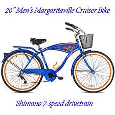 "26"" Margaritaville Beach Comfort Bicycle Men's Cruiser Bike Blue Steel 7-Speed"