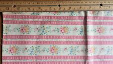 vintage pillow ticking cotton fabric floral shabby chic pink stripe blue 27 x 30