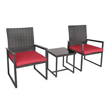 New listing Patio 3 Pcs Garden Conversation Chair Seat Set W/Table Cushioned Wicker Outdoor