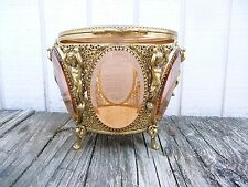 FABULOUS LARGE VINTAGE ORMALU? AMBER GLASS CASKET JEWELRY BOX 6 PANELS & CHERUBS