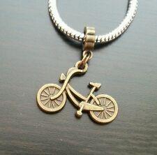 Bicycle Bike Spors Bronze Tone Dangle Charm Bead For European Style Bracelets
