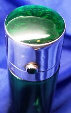 SOLID SILVER GILT & ENAMEL LIDDED GREEN GLASS PERFUME BOTTLE BY MILLER BROS 1897