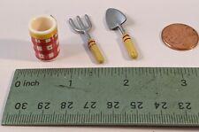 Mary Engelbreit miniature garden tools and crock or vase
