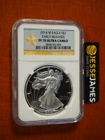 2014 W PROOF SILVER EAGLE NGC PF70 ULTRA CAMEO EARLY RELEASES GOLD STAR LABEL