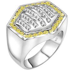 Men's Sterling Silver .925 Hexagon Yellow CZ Stone Ring Sizes 6-14 /Gift Box