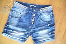 Place du Jour kurze Jeans Hose Boyfriend Short Hotpants 34 Risse Perlen Neu
