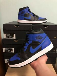 Nike Air Jordan 1 Mid Black Hyper Royal 554724-077 Size 8, 8.5, 10.5 IN HAND!