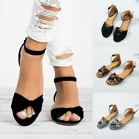 Womens Flats Low Heels Gladiator Sandals Summer Peep Toe Ankle Strap Shoes Size