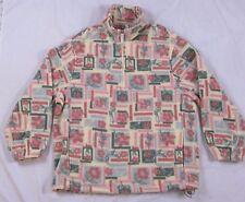 WOOLRICH Womens Fleece Pullover USA MADE Pink FLORAL Flowers 14 ZIP OUTERWEAR L