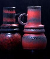 A. Seide Vienna DUO red Vase Scheurich fat lava vases Vasen vaso Mid century POP