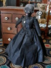 Antique 19th C Handmade Black Cloth Doll with Painted Features