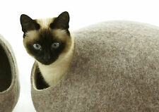 Cat cave bed,house,from 100% wool for pet. Kivikis-Color Sand brown  Size L. USA