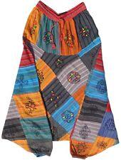 dipinto a mano cotone Patch pantaloni Harem Hippy Boho ALADINO Alibaba YOGA
