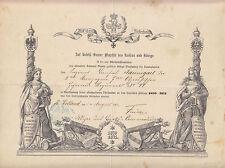 Urkunde Erinnerungs Kreuz für Combattanten 1870 - 1871 Ostpreußen Inft. Regt.44