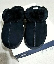 NEW ST JOHN'S BAY WOMEN'S BLACK SUEDE WITH FAUX FUR TRIM SLIPPERS SIZE 7.5