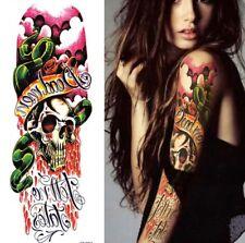 Calavera Serpientes Mangas de brazo de tatuaje temporal para Mujer Hombre Halloween Para Adulto De Hoja