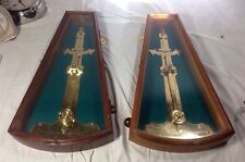 "2 BRASS SHIPS INCLINOMETERS in Wood Case Large 22"" Plumb Degree Nautical"