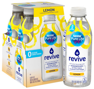 Nestle Pure Life + Revive with Magnesium Lemon Flavor 20 oz ( Pack of 4 )