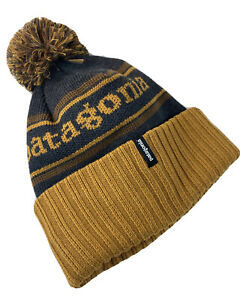 PATAGONIA KIDS POWDER TOWN BEANIE ~ Brown Gray Pom Hat Cap | 100% Authentic NEW