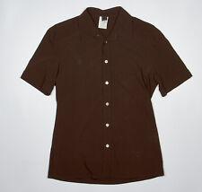 D&G Dolce Gabbana Shirt S in Chocolate Brown Short Sleeve Stretch Wool Blend